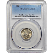1921 Pcgs MS65FB Mercury Dime