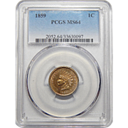 1859 Pcgs MS64 Indian Cent
