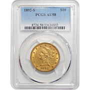 1892-S Pcgs AU58 $10 Liberty Head Gold