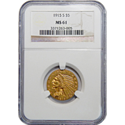 1915-S Ngc MS61 $5 Indian Gold
