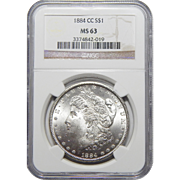 1884-CC Ngc MS63 Morgan Dollar