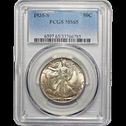 1935-S Pcgs MS65 Walking Liberty Half Dollar