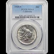 1925-S Pcgs MS64 California Half Dollar