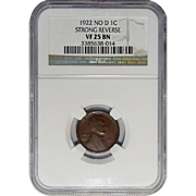 1922 No D Ngc VF25BN Strong Reverse Lincoln Wheat Cent