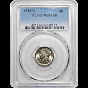 1925-D Pcgs MS66FB Mercury Dime