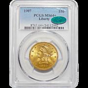 1907 Pcgs/Cac MS64+ $10 Liberty Head Gold