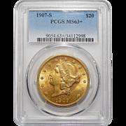 1907-S Pcgs MS63+ $20 Liberty Head Gold