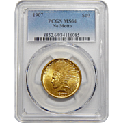 1907 Pcgs MS64 $10 No Motto Indian Gold