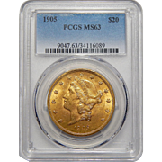 1905 Pcgs MS63 $20 Liberty Head Gold