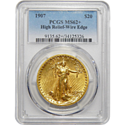 1907 Pcgs MS62+ $20 High Relief-Wire Edge St Gauden