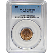 1864 Pcgs MS64RB L On Ribbon Indian Cent