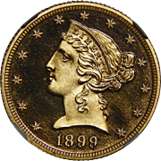 1899 Ngc PF69DCAM $5 Liberty Head Gold