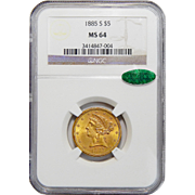 1885-S Ngc/Cac MS64 $5 Liberty Head Gold