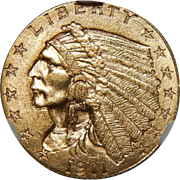 1911-D Ngc MS64 $2.50 Strong D Indian Gold