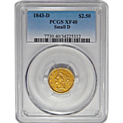 1843-D Pcgs XF40 $2.50 Small D Liberty Head Gold