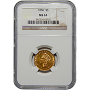 1856 Ngc MS63 $3 Gold