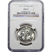 1917-S Ngc MS65 Reverse Walking Liberty Half Dollar