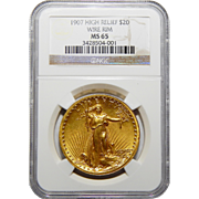 1907 Ngc MS65 $20 High Relief-Wire Edge St Gaudens
