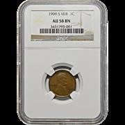 1909-S VDB Ngc AU58BN Lincoln Wheat Cent