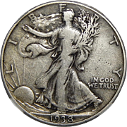 1938-D Ngc VF20 Walking Liberty Half Dollar