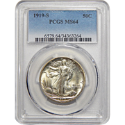 1919-S Pgcs MS64 Walking Liberty Half Dollar