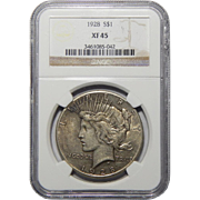 1928 Ngc XF45 Peace Dollar