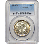 1918-D Pcgs MS65 Walking Liberty Half Dollar
