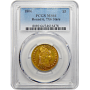 1806 Pcgs MS64 Round 6, 7X6 Stars $5 Draped Bust Gold