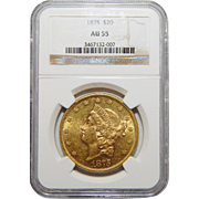 1875 Ngc AU55 $20 Liberty Head Gold
