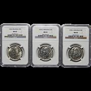 Complete Set of 1938 P+D+S Ngc MS63/MS64 Arkansas Half Dollars