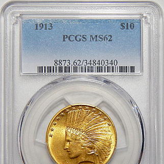 1913 Pcgs MS62 $10 Indian Gold