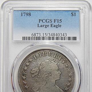 1798 Pcgs F15 Large Eagle Draped Bust Dollar