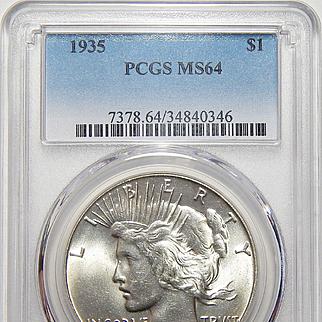 1935 Pcgs MS64 Peace Dollar