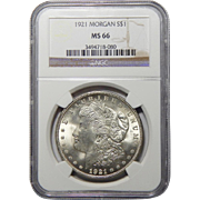 1921 Ngc MS66 Morgan Dollar