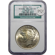 1923 Ngc MS67 PQ! Binion Collection Peace Dollar