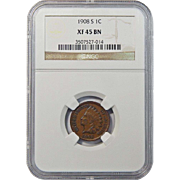 1908-S Ngc XF45BN Indian Head Cent