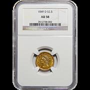 1849-D Ngc AU58 $2.50 Liberty Head Gold
