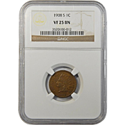 1908-S Ngc VF25BN Indian Head Cent