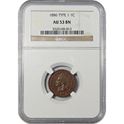 1886 Ngc AU53BN Variety 1 Indian Head Cent