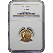 1911-D Ngc $2.50 Strong D MS60 Indian Gold