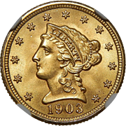 1903 Ngc MS67 $2.50 Liberty Head Gold