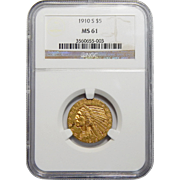 1910-S Ngc MS61 $5 Indian Gold
