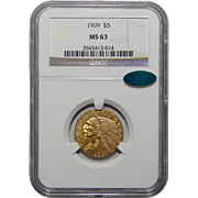 1909 Ngc/Cac MS63 $5 Indian Gold