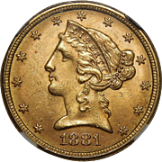 1881 Ngc MS65 $5 Liberty Head Gold
