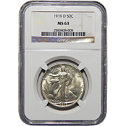 1919-D Ngc MS63 Walking Liberty Half Dollar