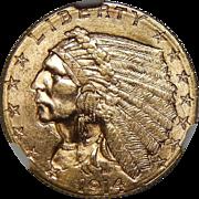 1914-D Ngc MS63 $2.50 Indian Gold