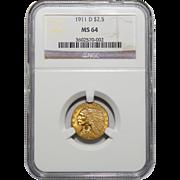 1911-D Ngc MS64 $2.50 Strong D Indian Gold