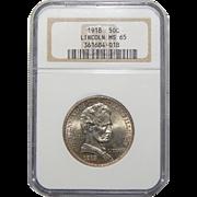 1918 Ngc MS65 Lincoln Half Dollar