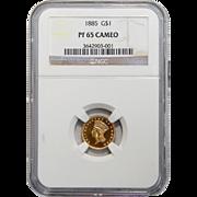 1885 Ngc PF65 Cameo $1 Gold