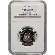 1882 Ngc PF68CAM Liberty Seated Quarter